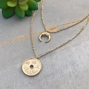 Jewelry - Boho Double Layer Crescent Moon Coin Necklace